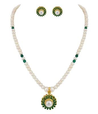 A.D Emerald  Pearl  Elegant Necklace Set