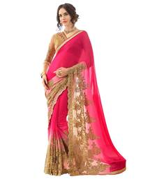 Buy Beige embroidered faux georgette saree with blouse georgette-saree online