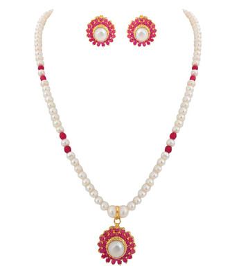 A.D Ruby Pearl Elegant Necklace Set