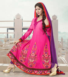 Buy Hypnotex Pink Chiffon Dress Material Around 208 anarkali-salwar-kameez online
