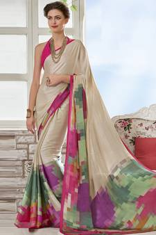 f7733ff31 Cream printed crepe saree with blouse. Shop Now