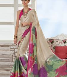 Buy Cream printed crepe saree with blouse women-ethnic-wear online