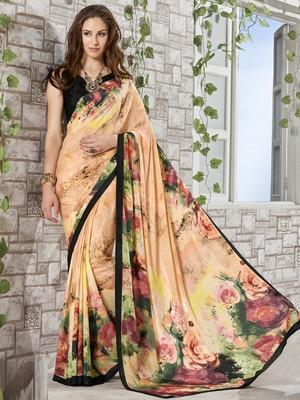Cream printed crepe saree with blouse