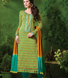 Buy Yellow printed cotton salwar with dupatta ethnic-suit online