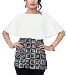 Buy White printed crepe tops top online