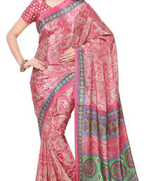 Buy Pink printed crepe saree with blouse crepe-saree online