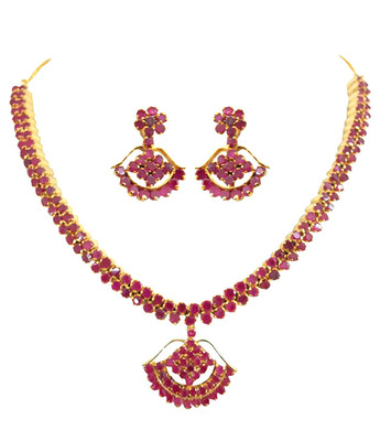 Designer Ruby Necklace Set For Women