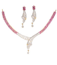 Buy Maroon Cubic Zirconia gemstone necklaces gemstone-necklace online