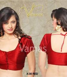 d949e648b17aa9 Buy Muhenera Plain Dupian Silk Sarre Blouse With Bead Lace readymade-blouse  online