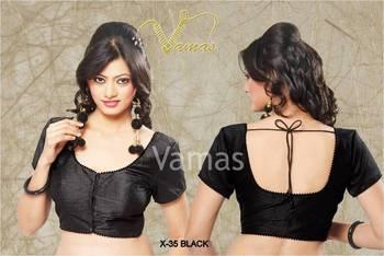 fbba80abb4bb50 Plain Dupian Silk Sarre Blouse With Bead Lace X-35b Black. Muhenera designer  collection