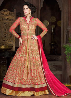 Peach Net Embroidered Semi Stitched Salwar With Dupatta