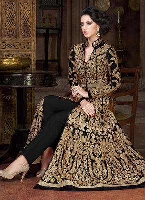 Black Net Embroidered Semi Stitched Salwar With Dupatta