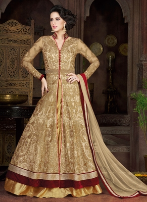 Cream Net Embroidered Semi Stitched Salwar With Dupatta