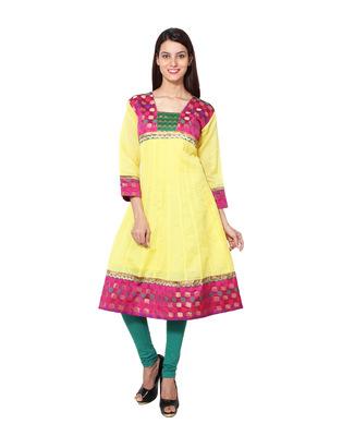 Gold cotton woven kurti