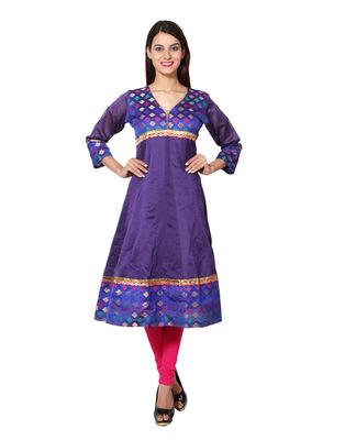Royal blue cotton woven kurti