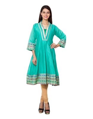 Sea green cotton woven kurti