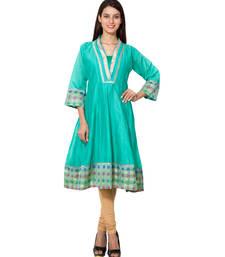 Sea green cotton woven kurti