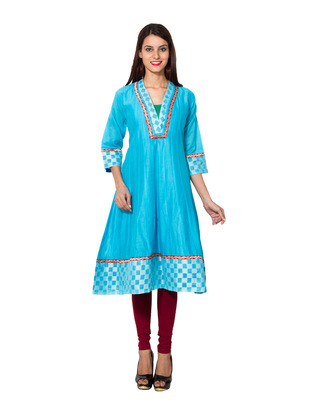 Sky blue cotton woven kurti
