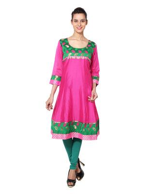 Rani pink cotton woven kurti