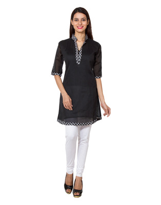 Black cotton woven kurti