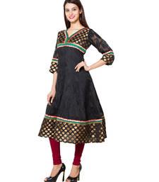 Black cotton woven kurti