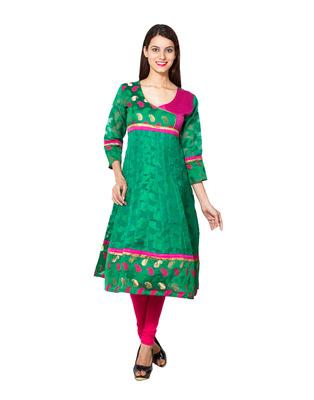 Green cotton woven kurti