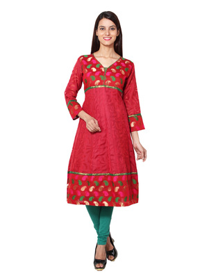 Red cotton woven kurti