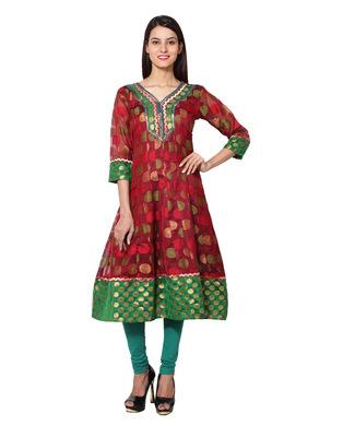 Maroon cotton woven kurti