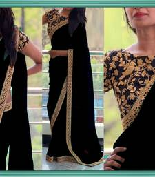 Buy Black embroidered georgette saree with blouse wedding-gift online