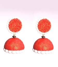 Buy Red white polymer clay jhumkas terracotta-jewelry online