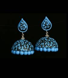 Buy Black blue polymer clay jhumkas terracotta-jewelry online