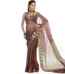 Buy Wine woven net saree with blouse supernet-saree online