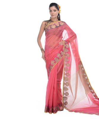 Rani pink woven net saree with blouse