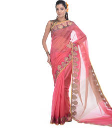 Buy Rani pink woven net saree with blouse supernet-saree online
