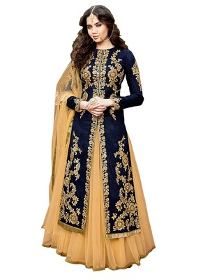 Blue embroidered cotton silk semi stitched kameez with pakistani lehenga