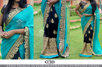 Sky blue hand woven georgette saree with blouse
