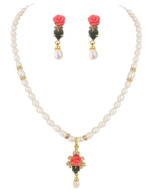 Fresh Water Pearl Rose Coral Kalki Necklace Set