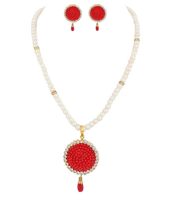 Fresh Water Pearl Red Coral Pearl Necklace Set