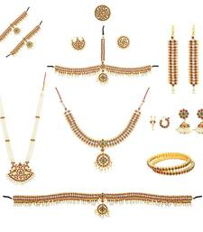 Buy Complete set Bharatanatyam Jewellery with all the 10 separate ornaments Made with Green and Red quality Kemp stones jewellery-box online
