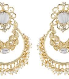 Buy Gorgeous Look Filigree Work Pearl Gold Plated Chandbali Earring danglers-drop online