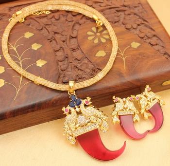 Beautiful Peacock Red Designer Necklace Set