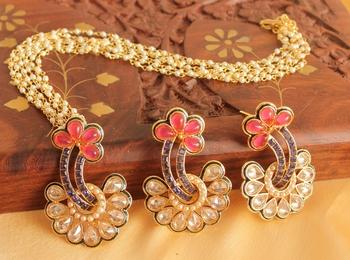 Beautiful Ruby Blue Floral Designer Necklace Set