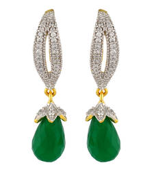 Buy designer Crystal drop american diamond Green dangle and drop earring Gold Plated danglers-drop online