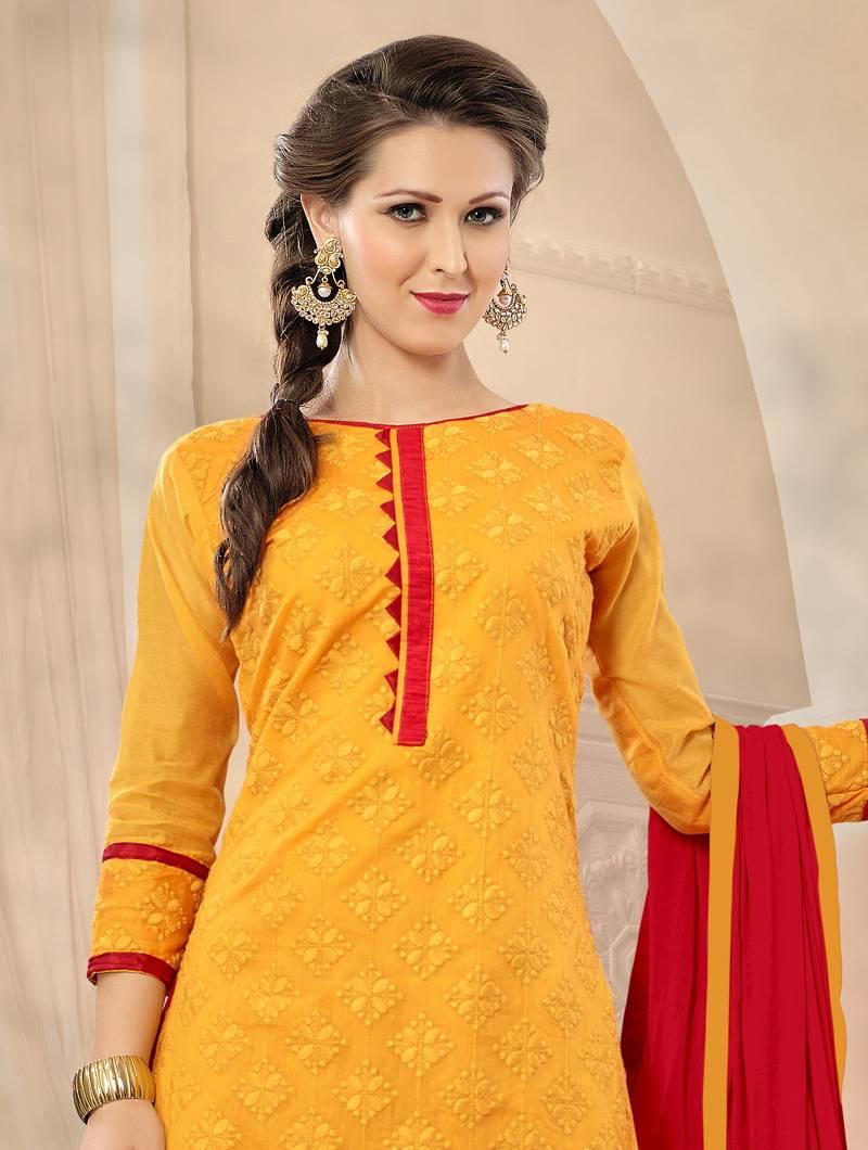485c694e26 Mustard embroidered chanderi silk salwar with dupatta - Manjubaa ...