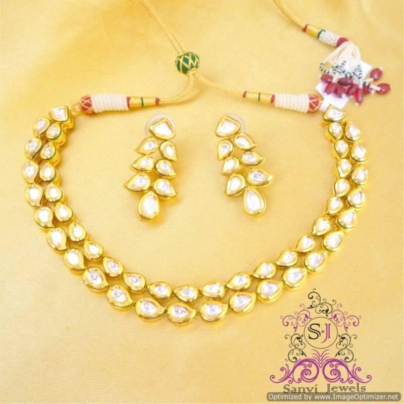 2ed719da11 Paisley Kundan Meenakari Necklace Set - Sanvi Jewels Pvt. Ltd. - 196002