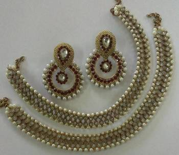 Designer  Red colour earings with Traditional Anklets
