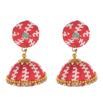 Thread Work Earrings With Designer Pattern And Stone Work