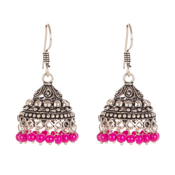 Oxidised Look Fashion Earring With Carved Pattern And Beads