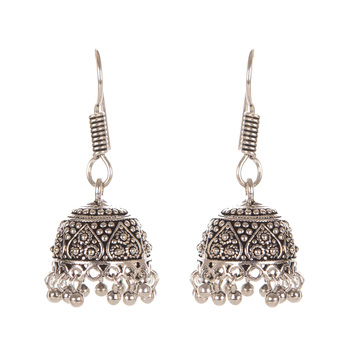 Dull Gold Look Fashion Earring With Carved Pattern And Beads