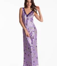 Buy lilac floral long night dress nightwear online